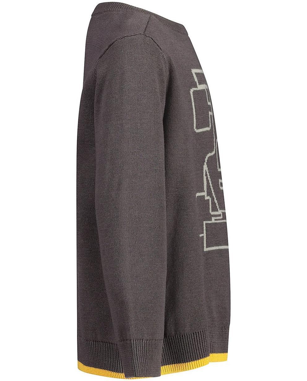 Pullover - Dunkelgrau - Sweatshirt mit Autoprint